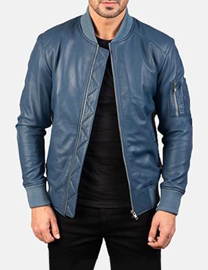 Men's Bomia Ma-1 Blue Leather Bomber Jacket