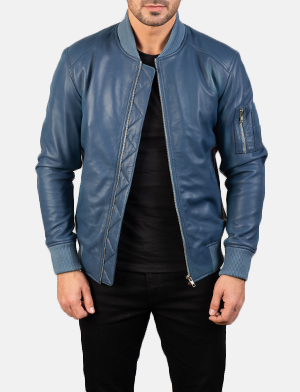 Men's Bomia Ma-1 Blue Leather Bomber Jacket