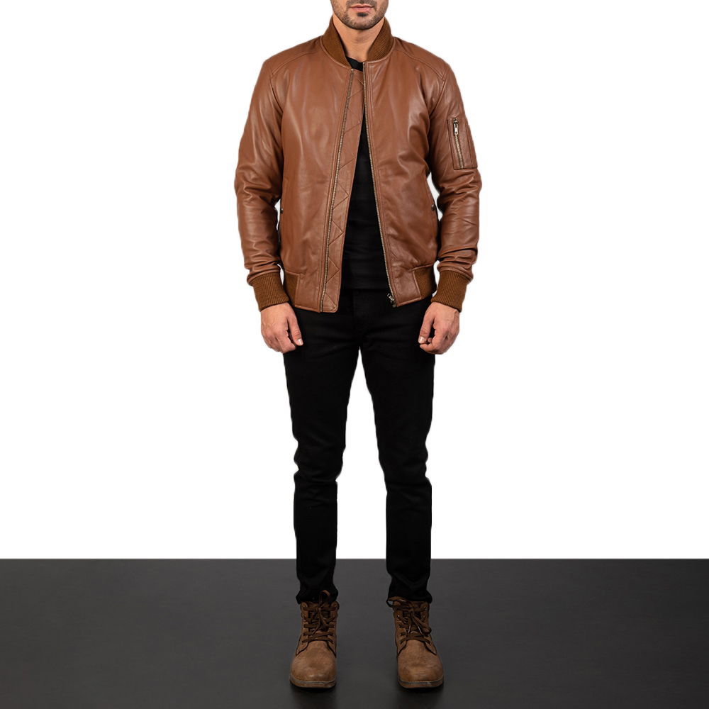 Men's Bomia Ma-1 Brown Leather Bomber Jacket 1