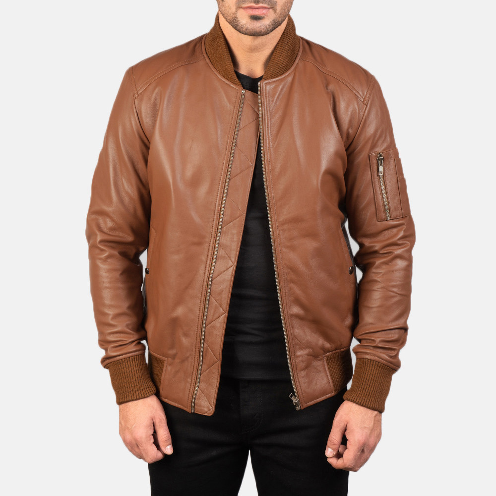 Men's Bomia Ma-1 Brown Leather Bomber Jacket 3