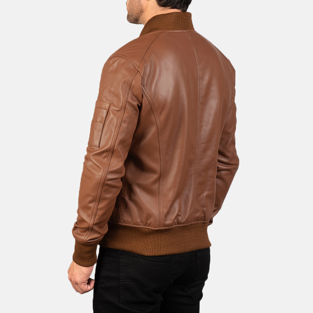 Men's Bomia Ma-1 Brown Leather Bomber Jacket 5