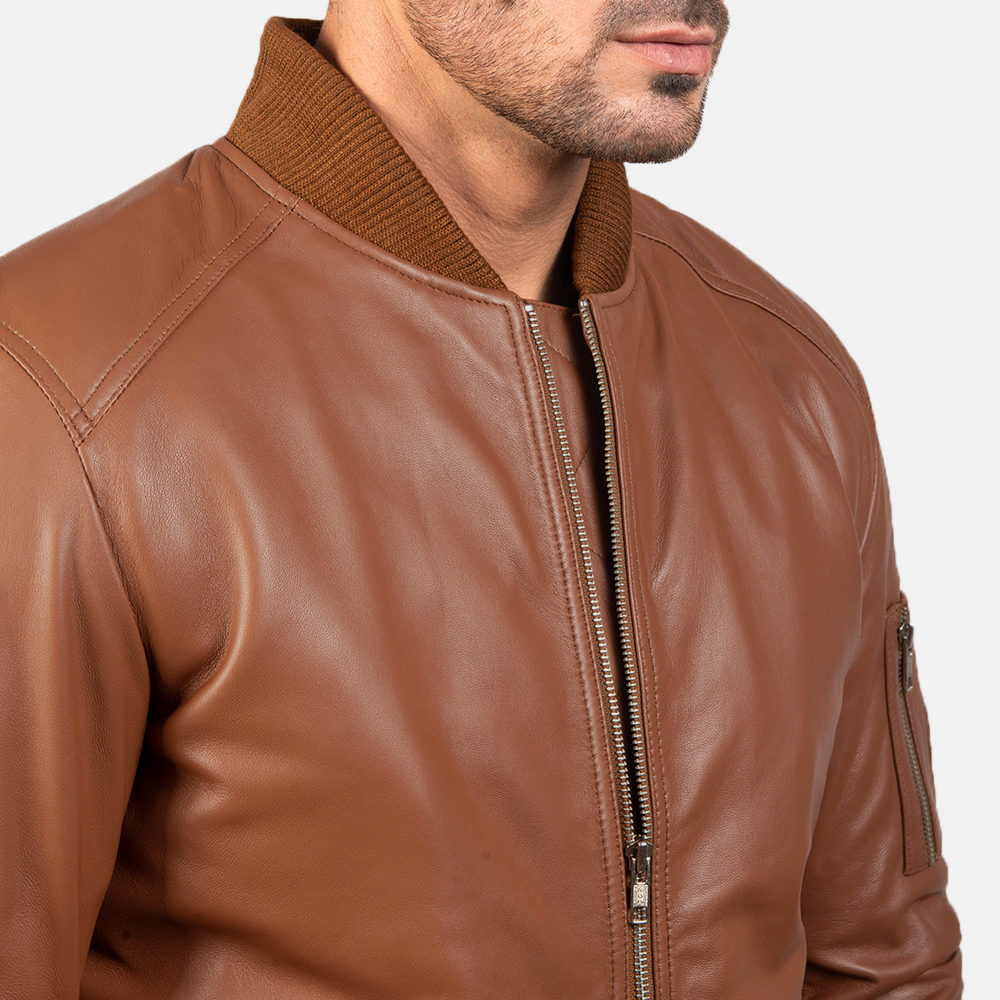 Men's Bomia Ma-1 Brown Leather Bomber Jacket 6