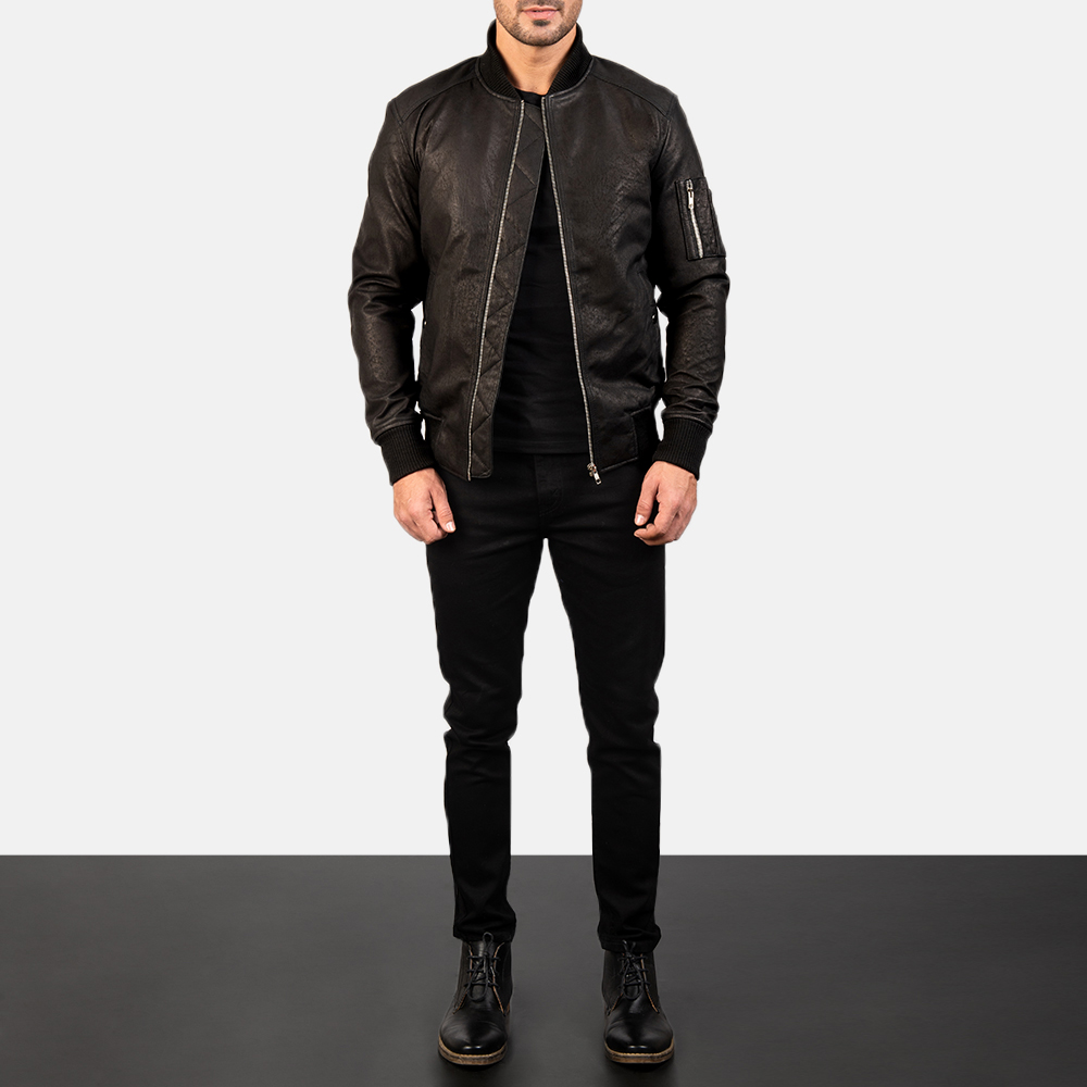 Men's Bomia Ma-1 Distressed Black Leather Bomber Jacket 1