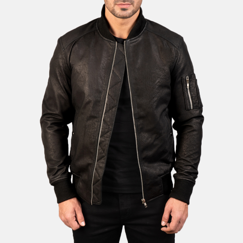 Men's Bomia Ma-1 Distressed Black Leather Bomber Jacket 4