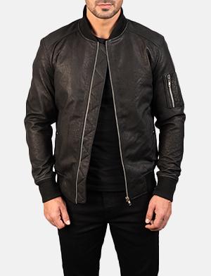 Men's Bomia Ma-1 Distressed Black Leather Bomber Jacket