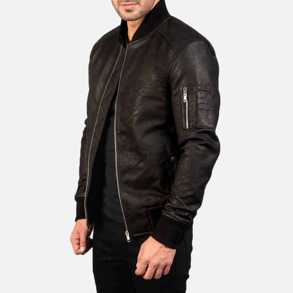 Men's Bomia Ma-1 Distressed Black Leather Bomber Jacket 2