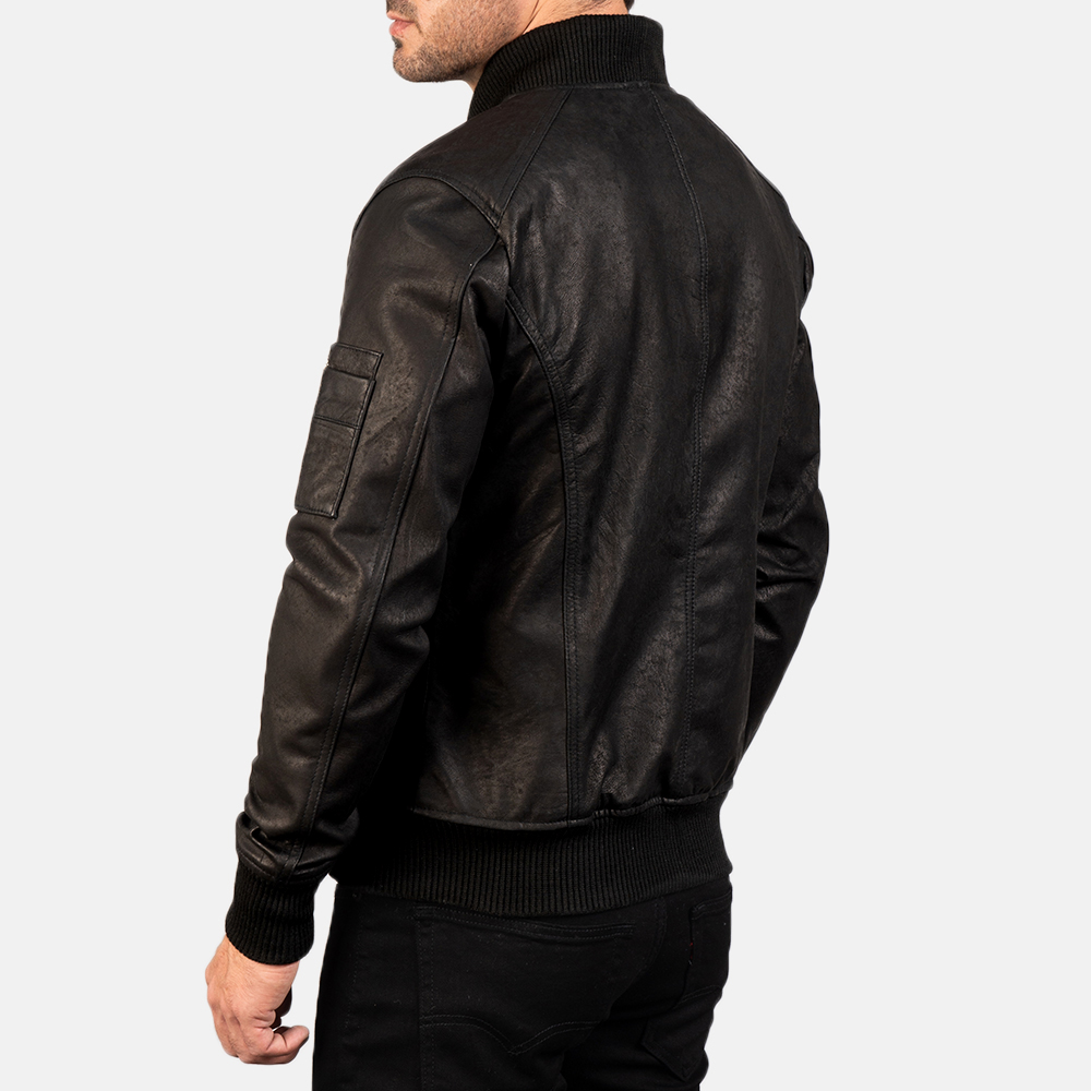 Men's Bomia Ma-1 Distressed Black Leather Bomber Jacket 5
