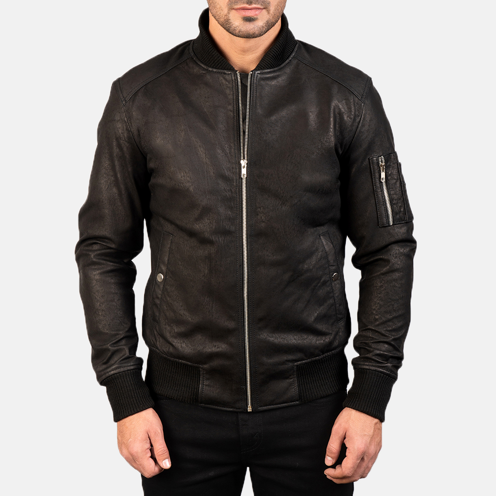 Men's Bomia Ma-1 Distressed Black Leather Bomber Jacket 3