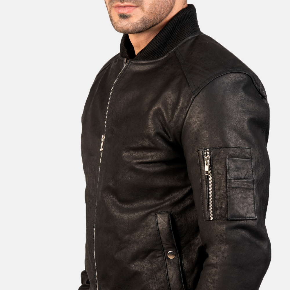 Men's Bomia Ma-1 Distressed Black Leather Bomber Jacket 6