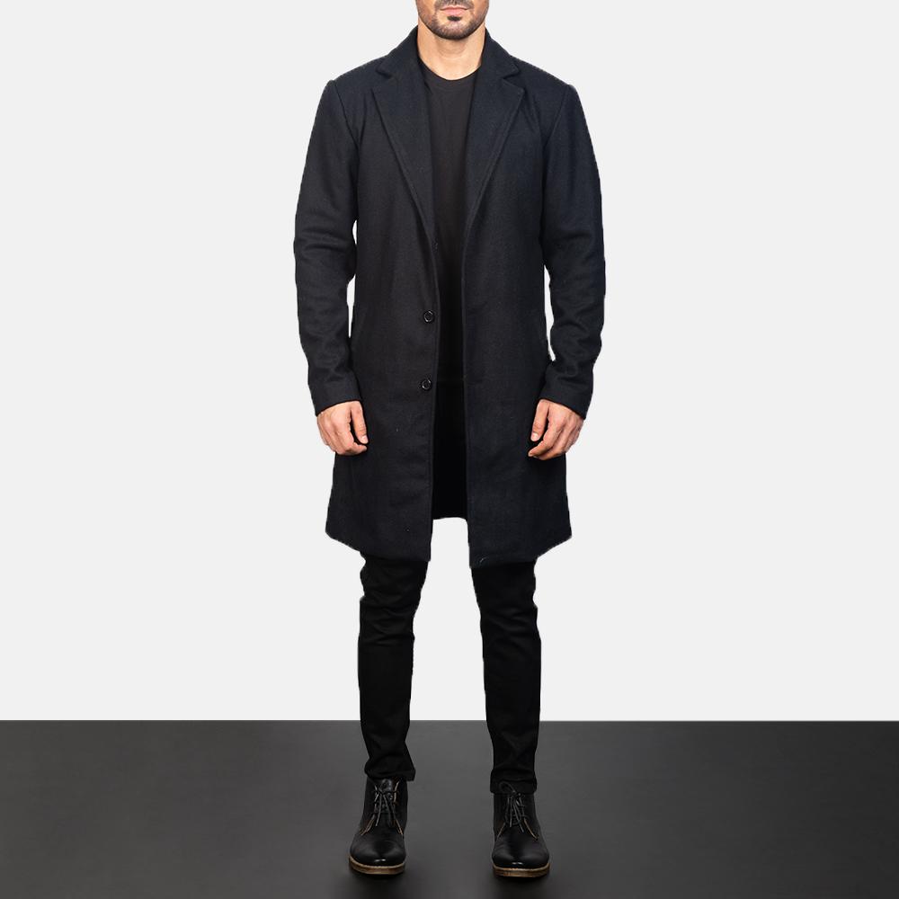 Men's Black Wool Single Breasted Coat 3