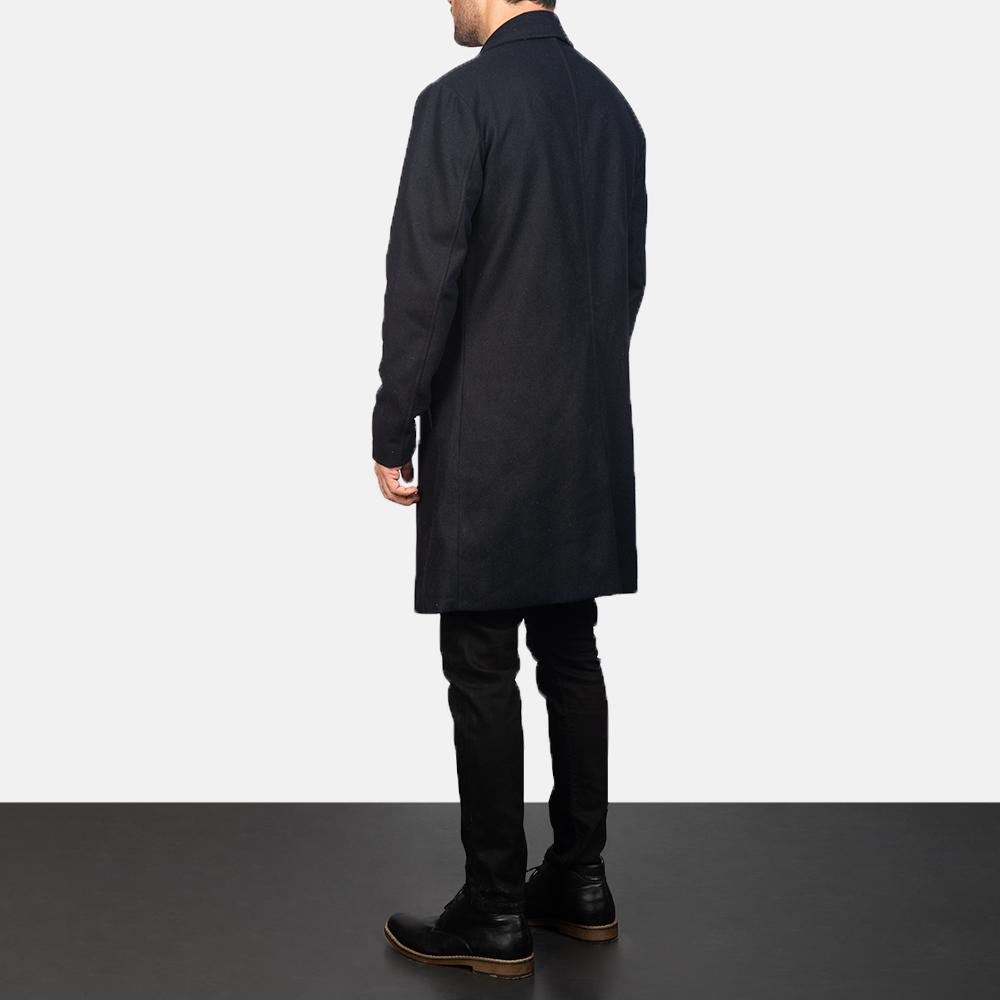 Men's Black Wool Single Breasted Coat 5