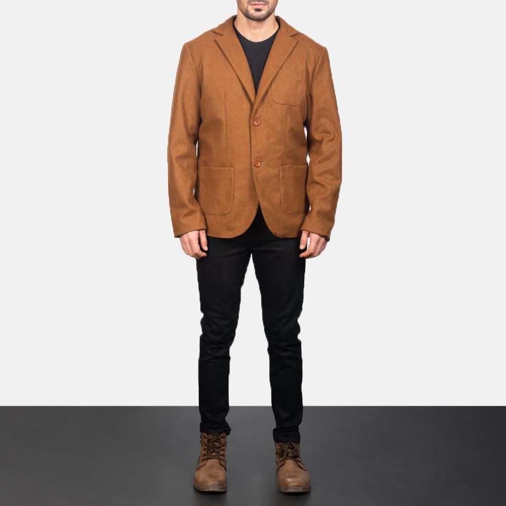 Men's Khaki Wool Blazer 1