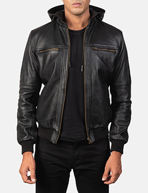 Men's Bouncer Biz Black Leather Hooded Bomber Jacket