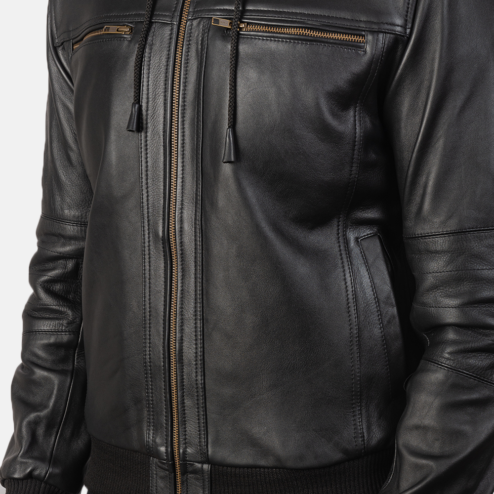 Men's Bouncer Biz Black Leather Bomber Jacket