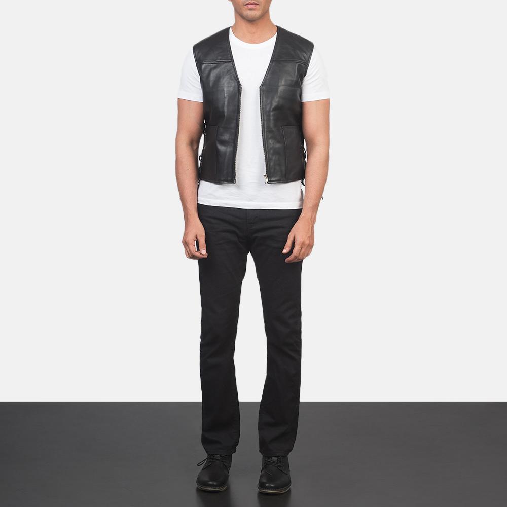 Men's Brandon Black Leather Vest 1
