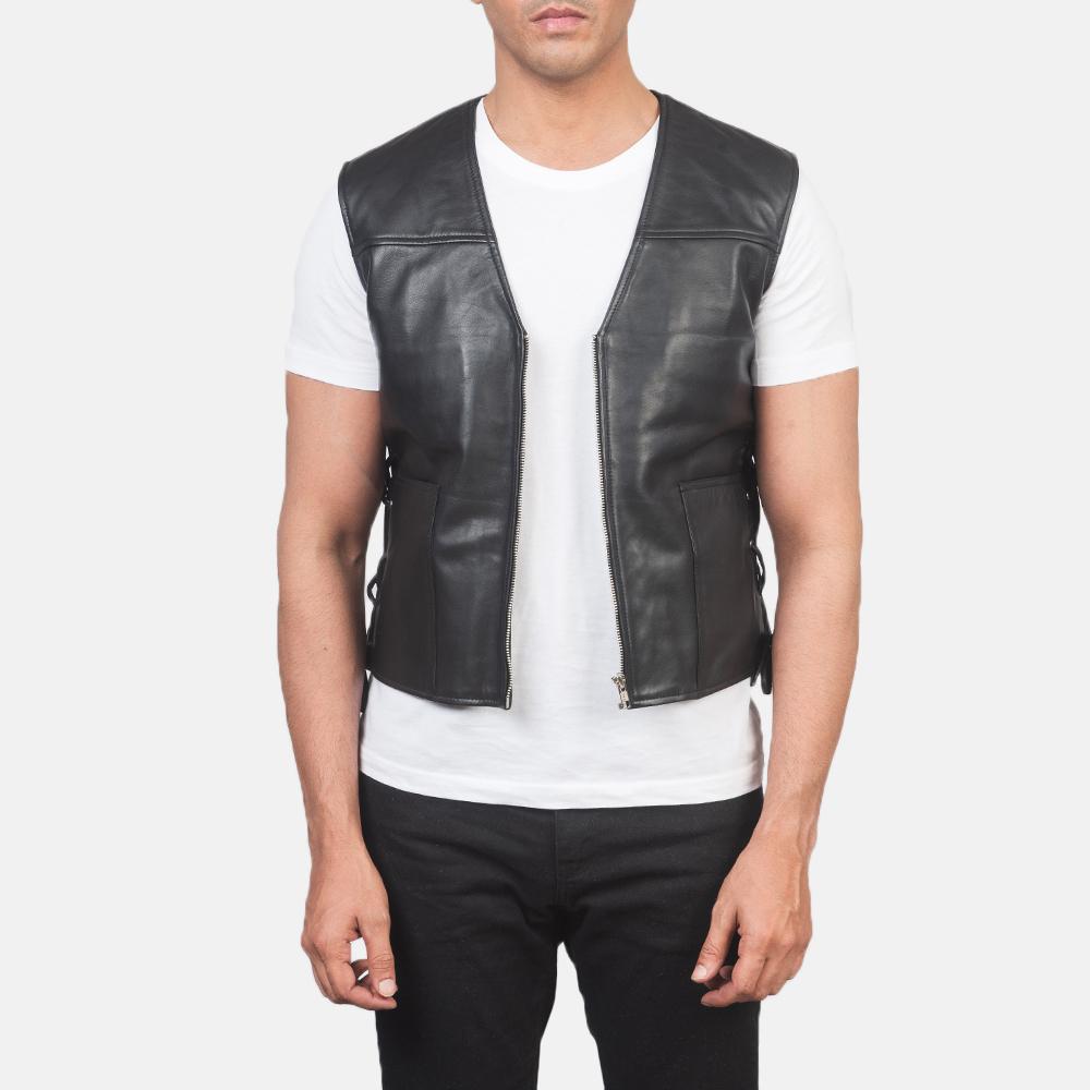 Men's Brandon Black Leather Vest 3