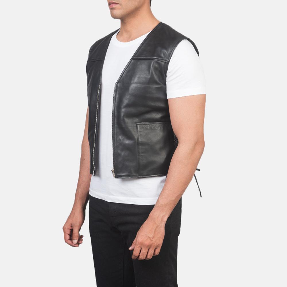 Men's Brandon Black Leather Vest 2