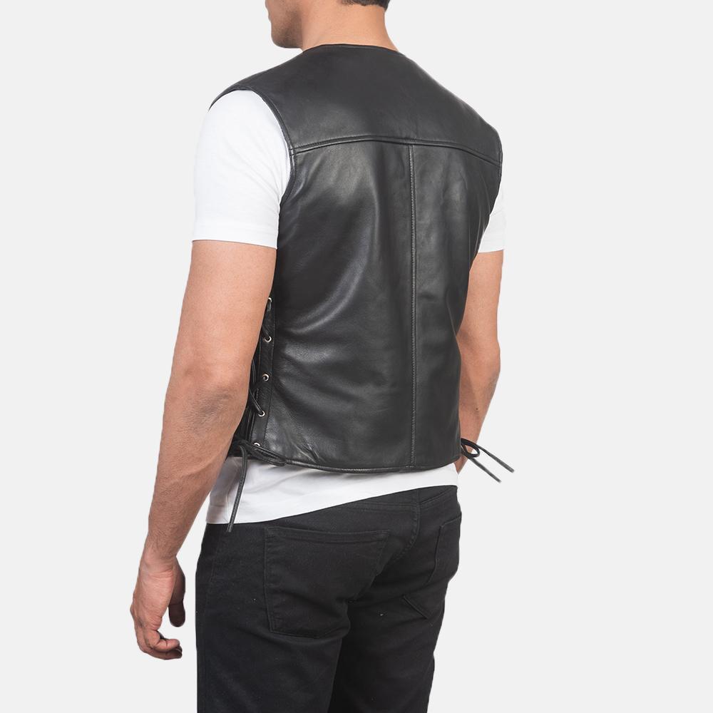 Men's Brandon Black Leather Vest 5
