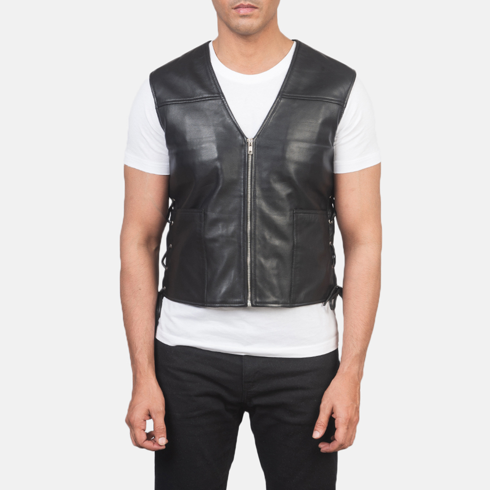 Men's Brandon Black Leather Vest 4