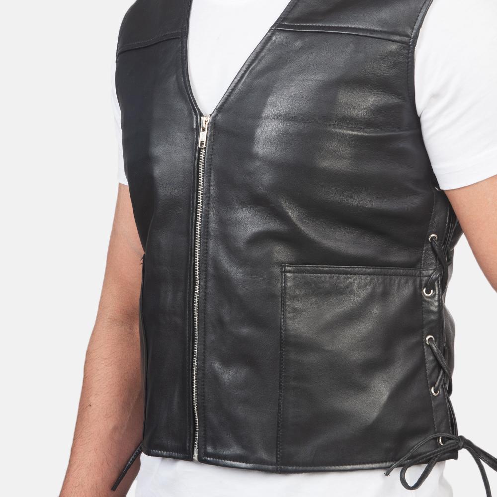Men's Brandon Black Leather Vest 6