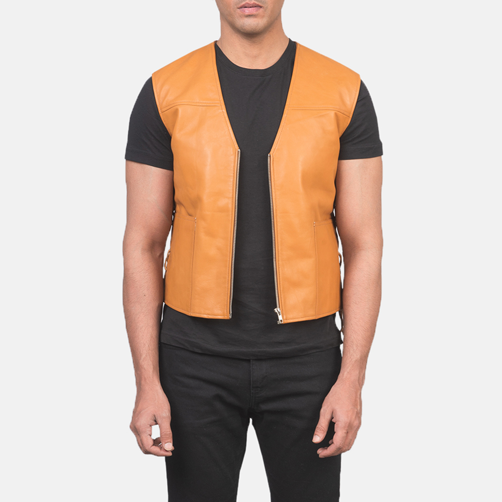 Men's Brandon Tan Brown Leather Vest 3
