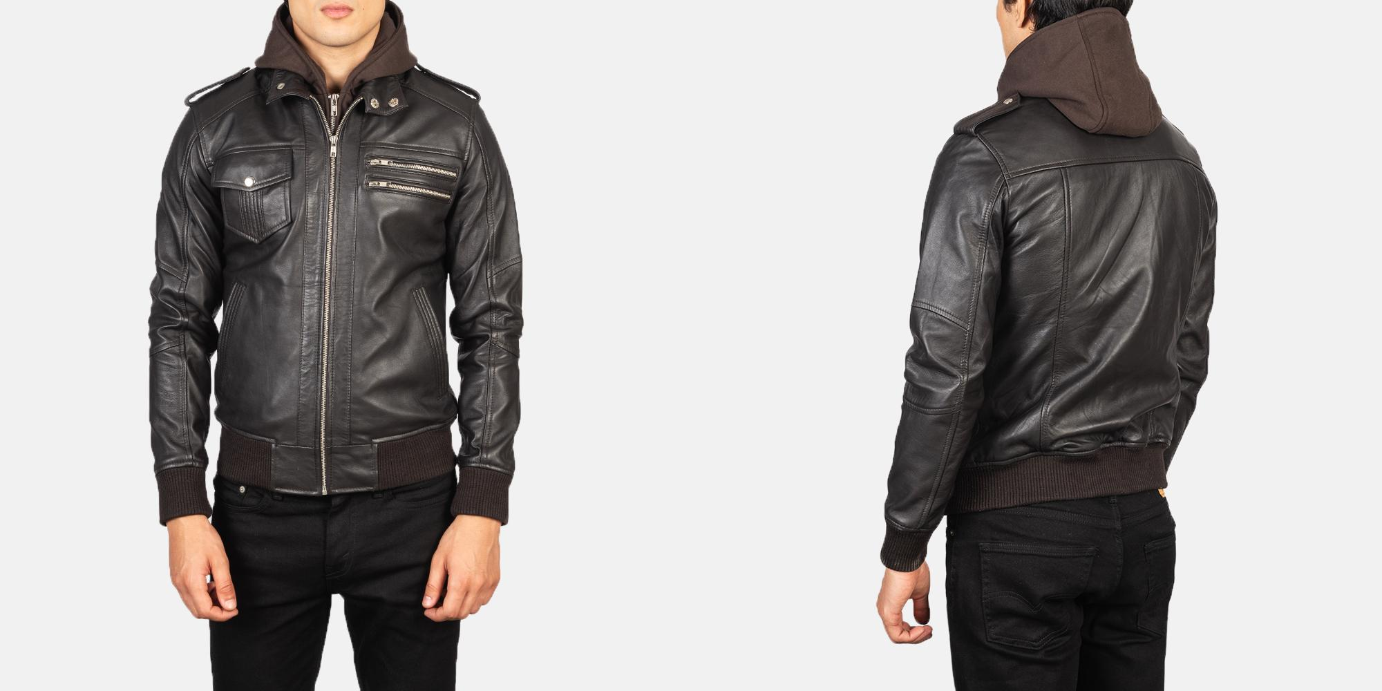 Men's Bravado Brown Hooded Leather Bomber Jacket
