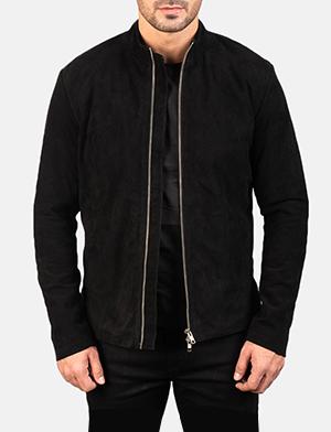 Men's Charcoal Black Suede Biker Jacket
