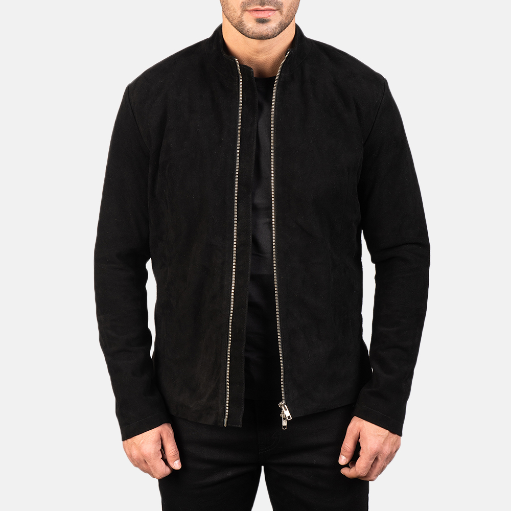 Men's Charcoal Black Suede Biker Jacket 3