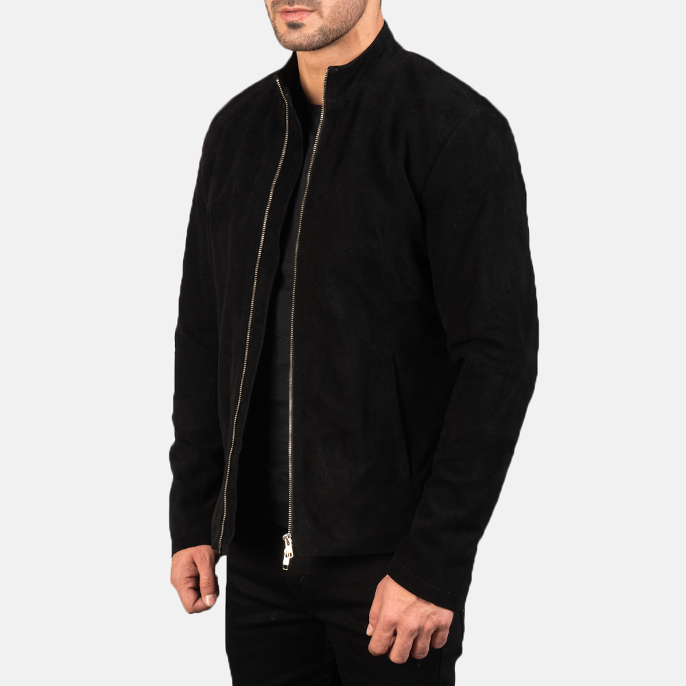 Men's Charcoal Black Suede Biker Jacket 2