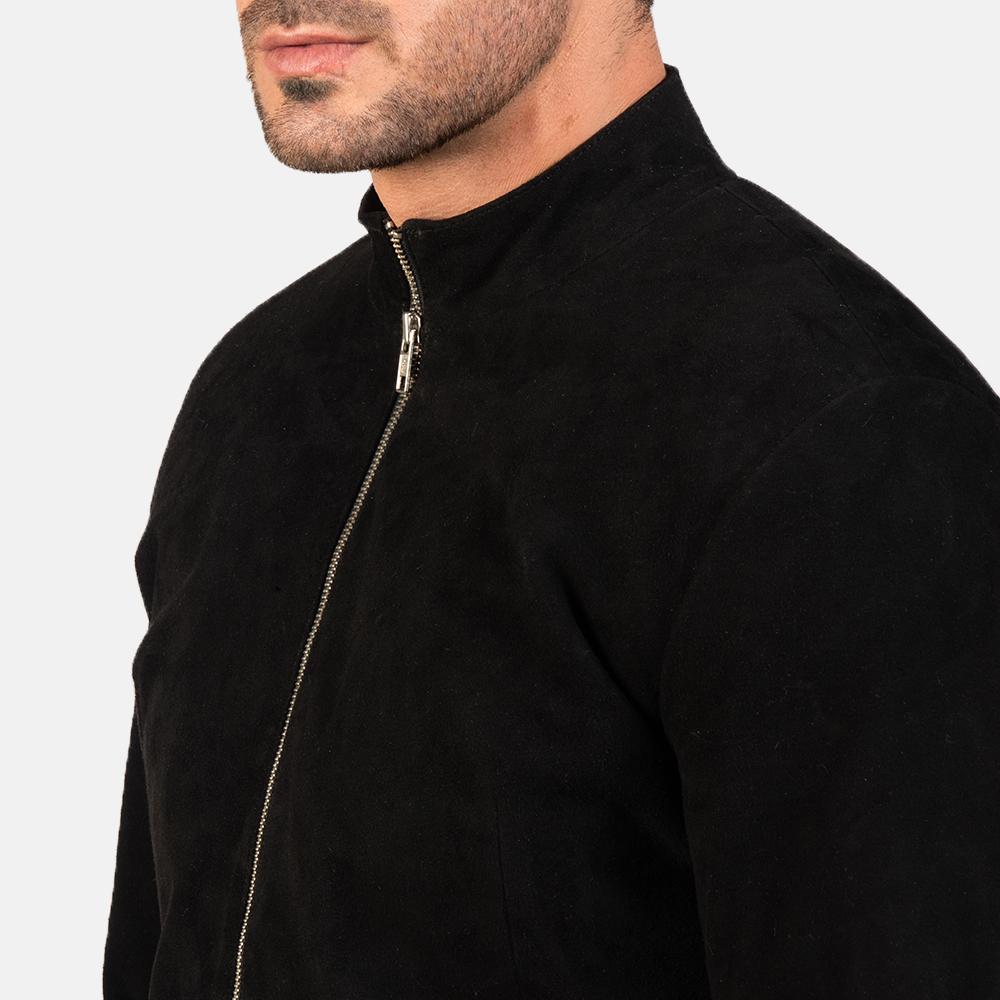 Men's Charcoal Black Suede Biker Jacket 6