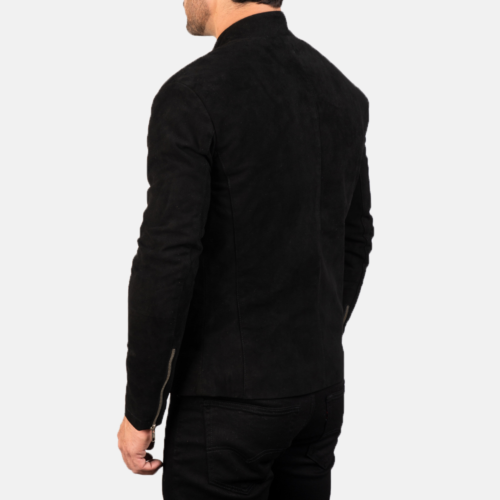 Men's Charcoal Black Suede Biker Jacket 5