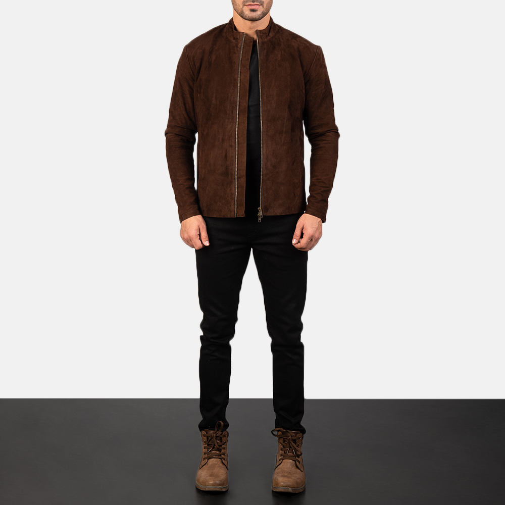 Men's Charcoal Mocha Suede Biker Jacket 1