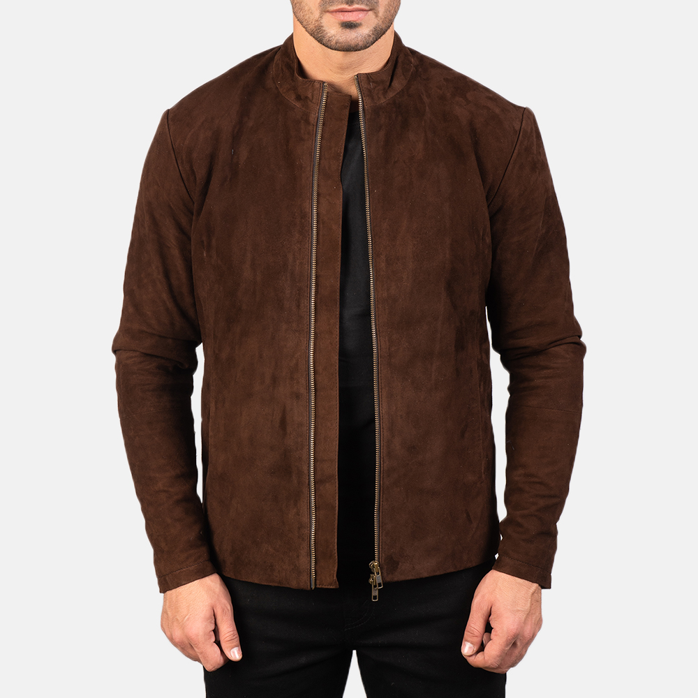 Men's Charcoal Mocha Suede Biker Jacket 3