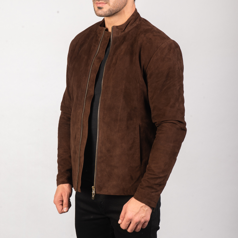 Men's Charcoal Mocha Suede Biker Jacket 2
