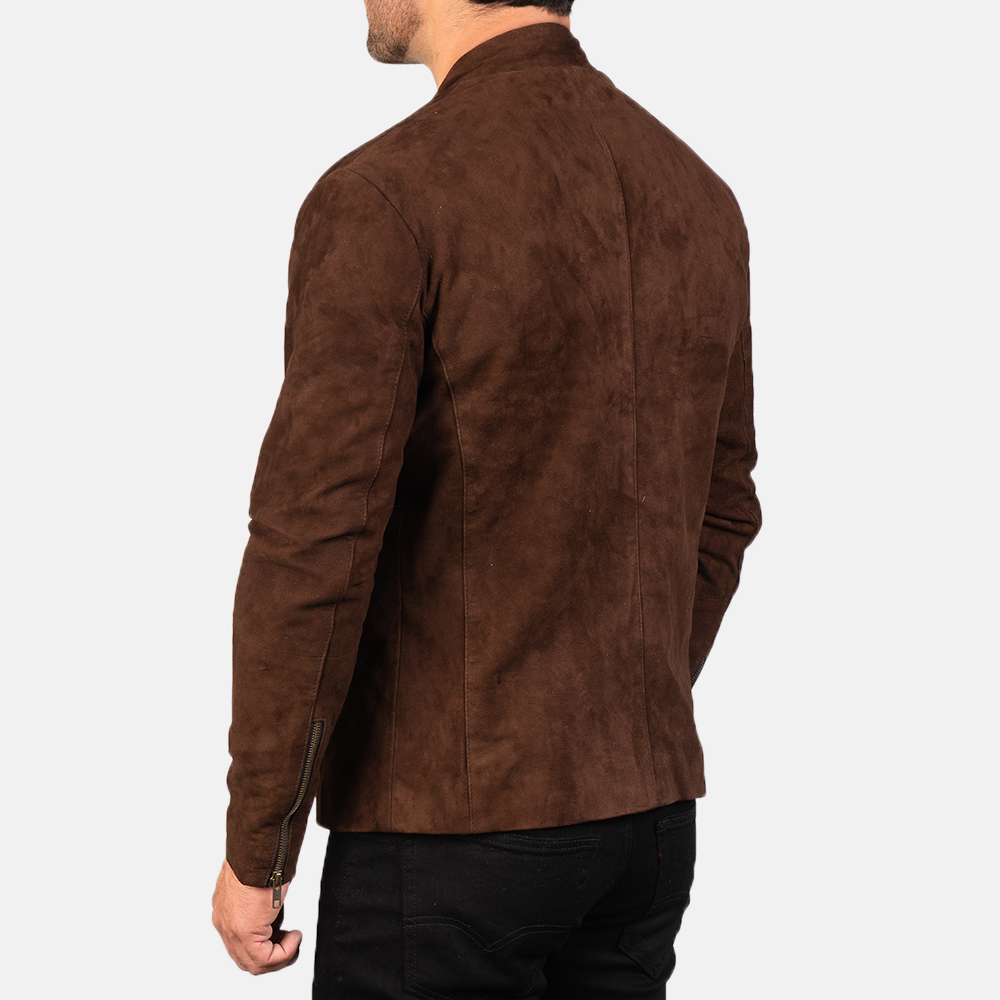 Men's Charcoal Mocha Suede Biker Jacket 5