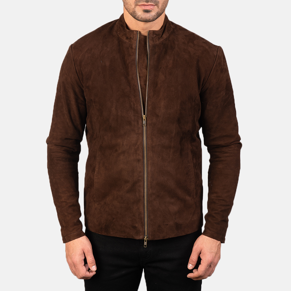 Men's Charcoal Mocha Suede Biker Jacket 4