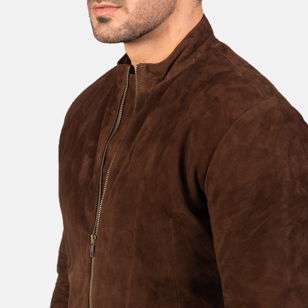 Men's Charcoal Mocha Suede Biker Jacket 6