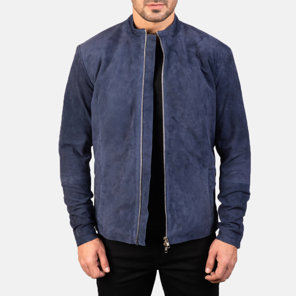 Men's Charcoal Navy Blue Suede Biker Jacket 3