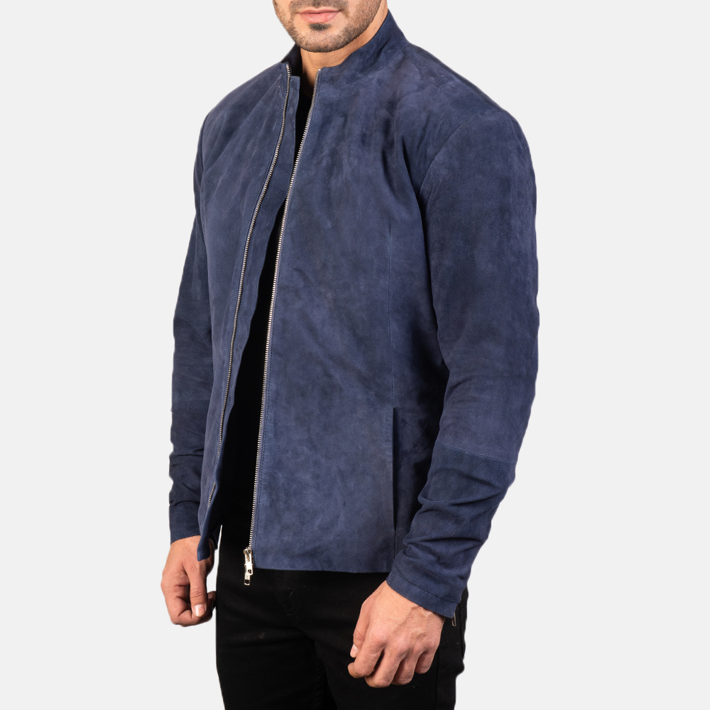 Men's Charcoal Navy Blue Suede Biker Jacket 2