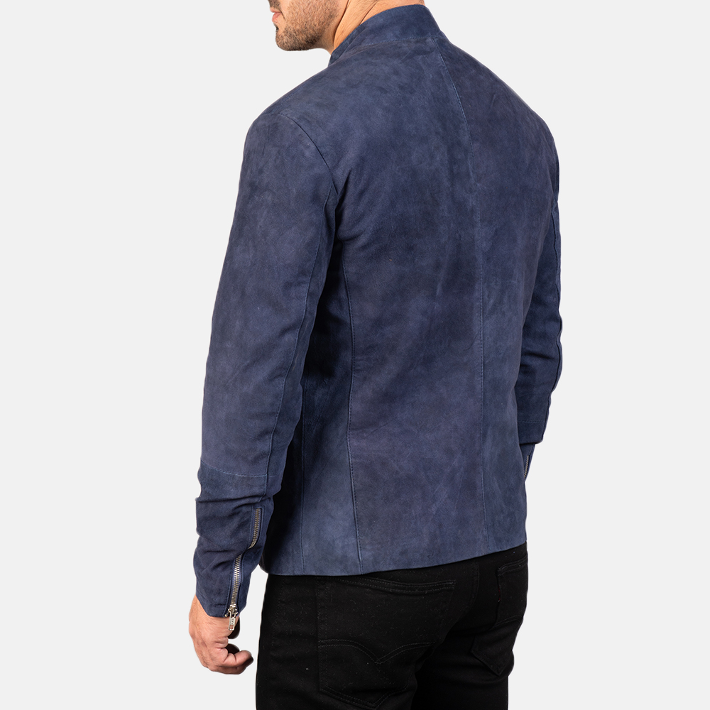 Men's Charcoal Navy Blue Suede Biker Jacket 5