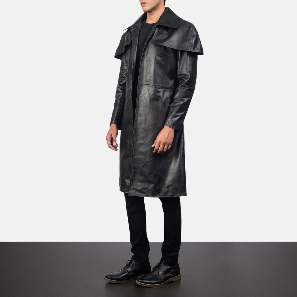 Men's Classic Black Leather Duster