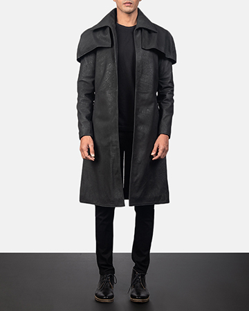 Men's Classic Distressed Black Leather Duster