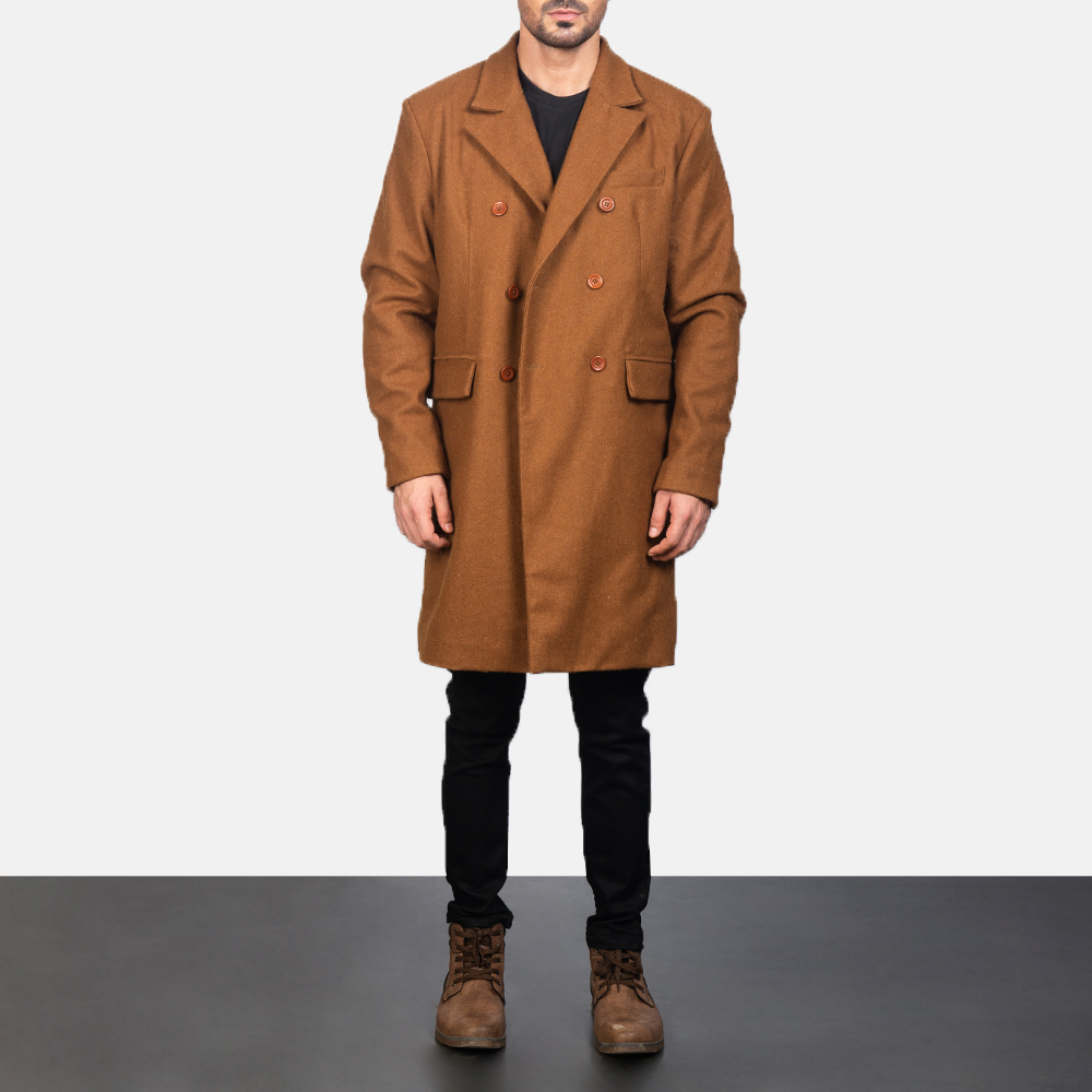 Men's Claud Khaki Wool Double Breasted Coat 3