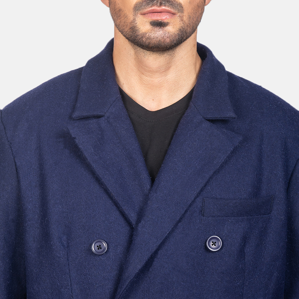 Men's Blue Wool Double Breasted Coat 6