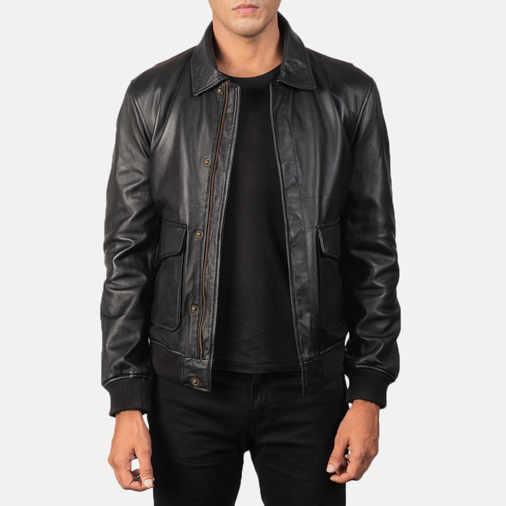 Men's Coffmen Black Leather Bomber Jacket