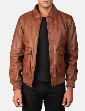 Men's Coffmen Brown Leather Bomber Jacket