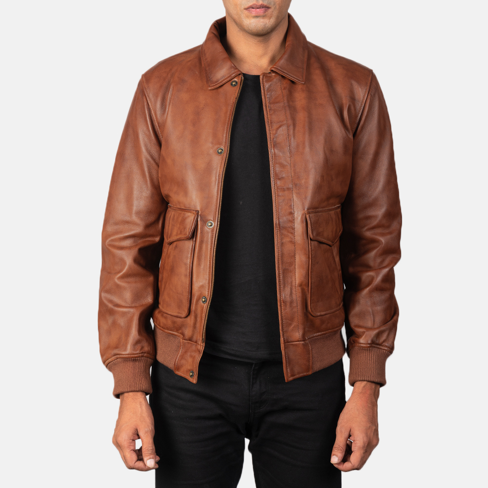 Men's Coffmen Brown Leather Bomber Jacket