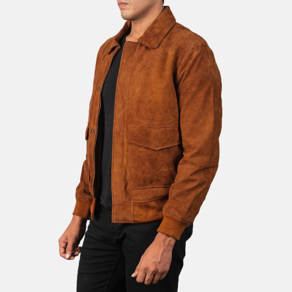Men's Coffmen Brown Suede Bomber Jacket