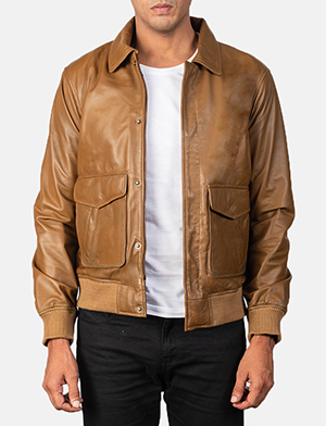 Coffmen Olive Brown Leather Bomber Jacket