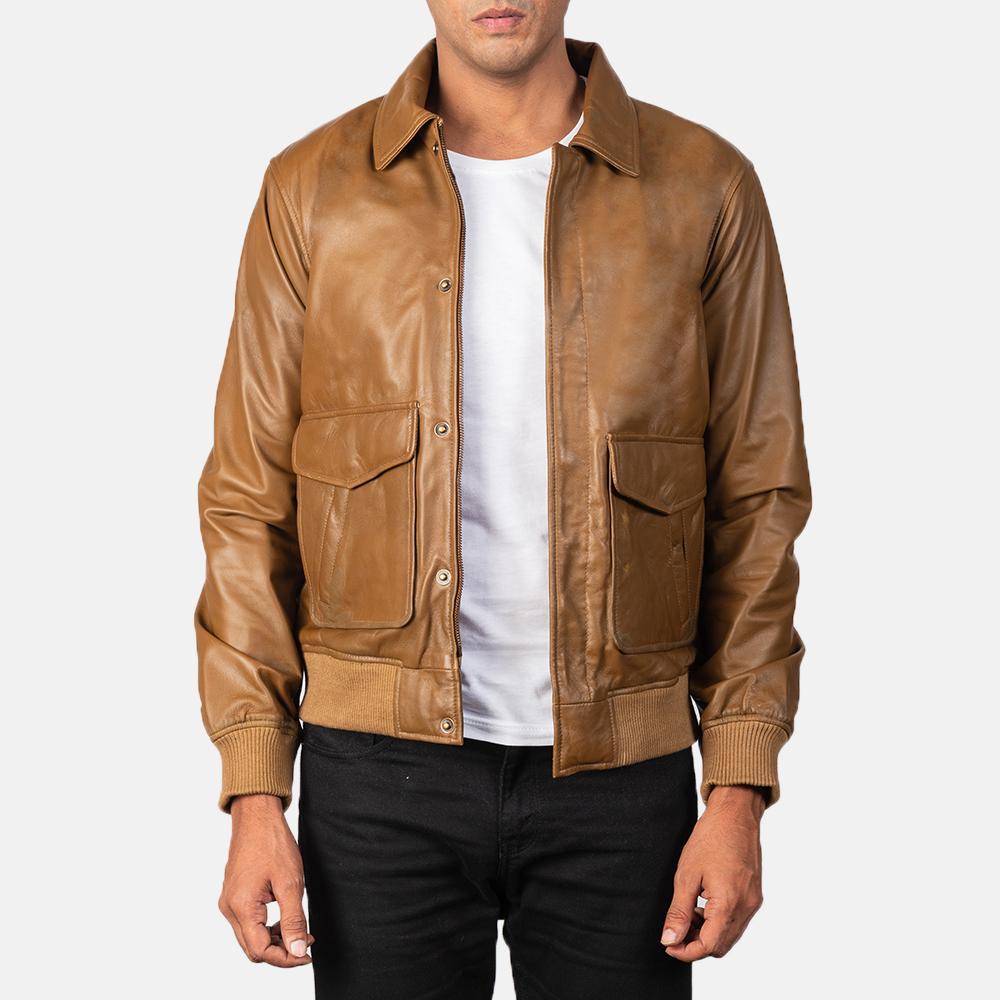 Men's Coffmen Olive Brown Leather Bomber Jacket